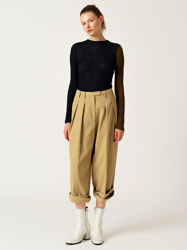 Blocking Sheer T + Zigzag Wide Pants